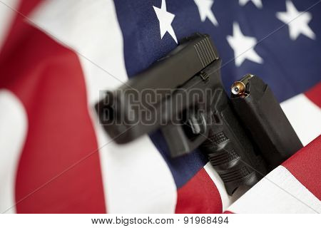 Armed United States Of America Gun And Usa Flag