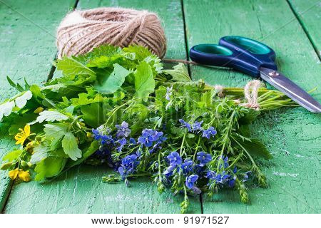 Bunches Of Herbs Prepared For Drying