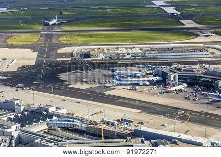 Aerial Of Airport In Frankfurt