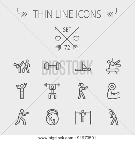 Sports thin line icon set for web and mobile. Set includes- dumbbell, weightlifting, karate, kettlebell, boxing, pull up exercise, gymnast, stretching icons. Modern minimalistic flat design. Vector