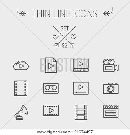 Multimedia thin line icon set for web and mobile. Set includes- phonograph, video ca, camerta, clapboard, film, strips, cloud, cassette, tape, arrow, forward icons. Modern minimalistic flat design
