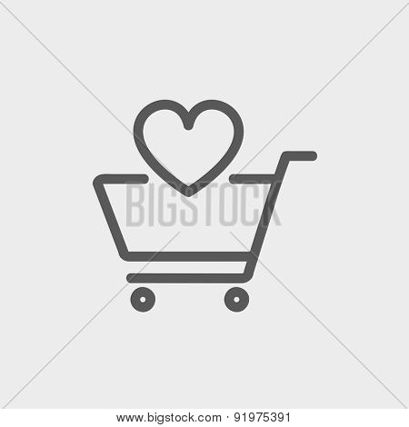 Shopping cart with heart icon thin line for web and mobile, modern minimalistic flat design. Vector dark grey icon on light grey background.