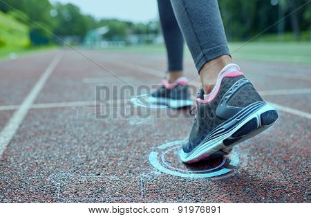 fitness, sport, training, people and lifestyle concept - close up of woman feet running on track from back with futuristic holograms poster