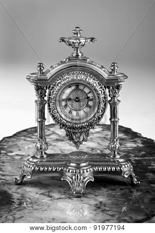 French Gold Clock In Black And White.