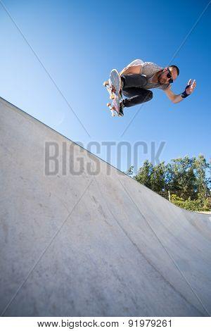 Skateboarder Flying