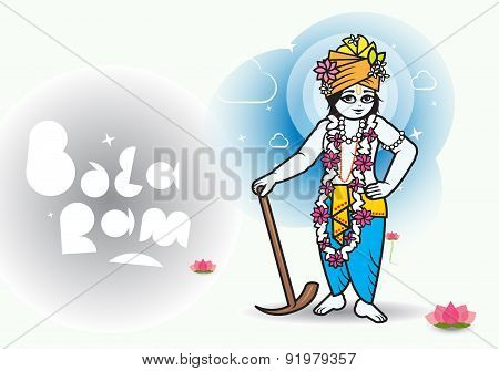 Lord Shri Balaram with lightly font. Indian culture. poster