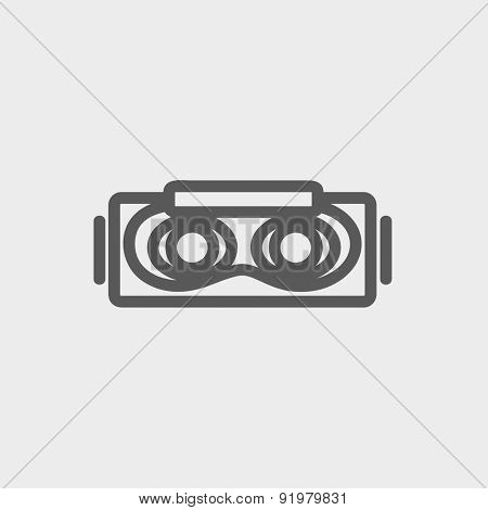 Virtual reality mask icon thin line for web and mobile, modern minimalistic flat design. Vector dark grey icon on light grey background.