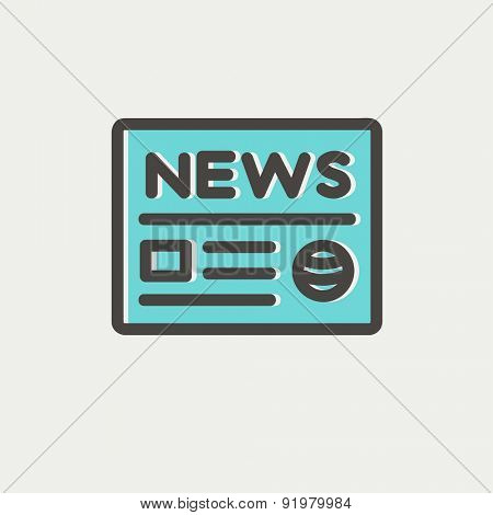 Newspaper icon thin line for web and mobile, modern minimalistic flat design. Vector icon with dark grey outline and offset colour on light grey background.