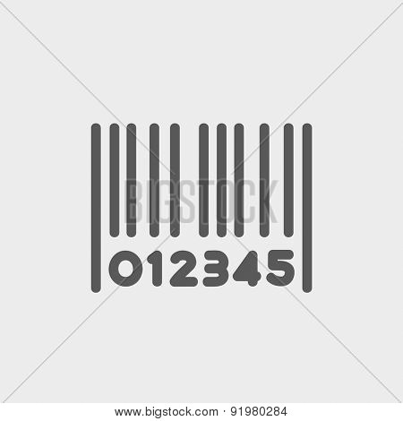 Barcode icon thin line for web and mobile, modern minimalistic flat design. Vector dark grey icon on light grey background.