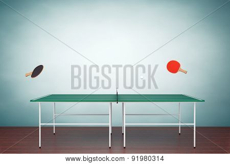 Old Style Photo. Ping-pong Tennis Table With Paddles