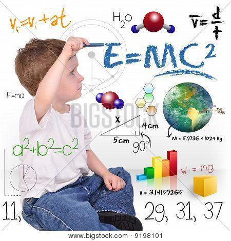 Joven Matemáticas Ciencia Boy Genius escritura