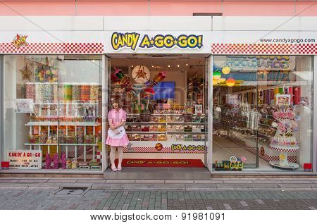 Candy a go go candy shop and vendor at Harajuku's Takeshita street