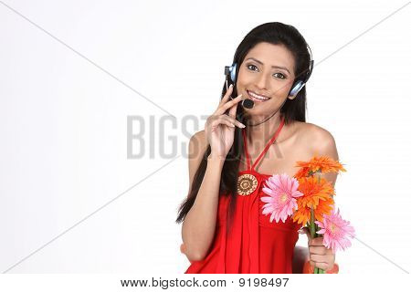 woman with micro phones