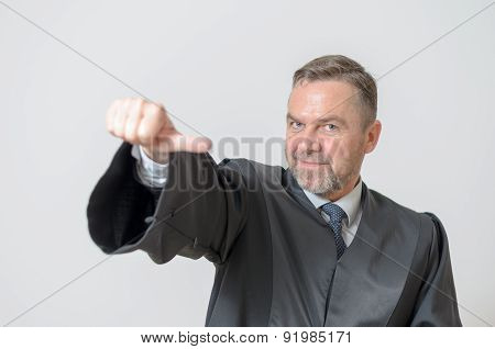 Businessman Giving A Thumbs To Side Gesture