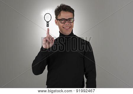 Happy Proud Man Displaying His Brainwave Idea