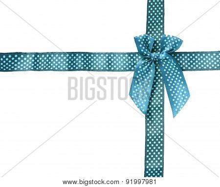 Shiny Ribbon (bow) gird box frame isolated on white background.