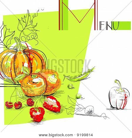 Menu With Fruit And Vegetables