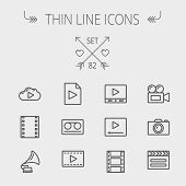 Multimedia thin line icon set for web and mobile. Set includes- phonograph, video ca, camerta, clapboard, film, strips, cloud, cassette, tape, arrow, forward icons. Modern minimalistic flat design poster