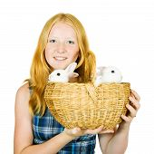 Teen girl with rabbits isolated on white background poster