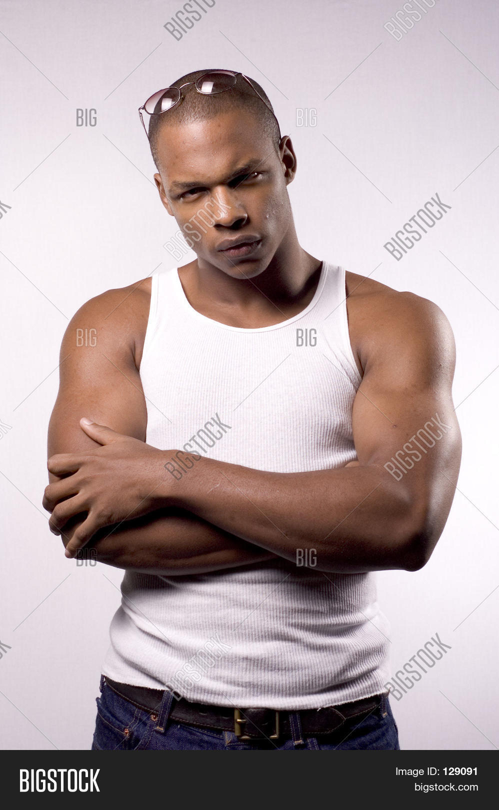 Young black male model in studio look of concern or worry