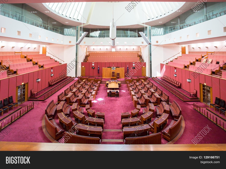 CANBERRA, AUSTRALIA   MAR 25, 2016: Interior View Of The Australian Senate  In