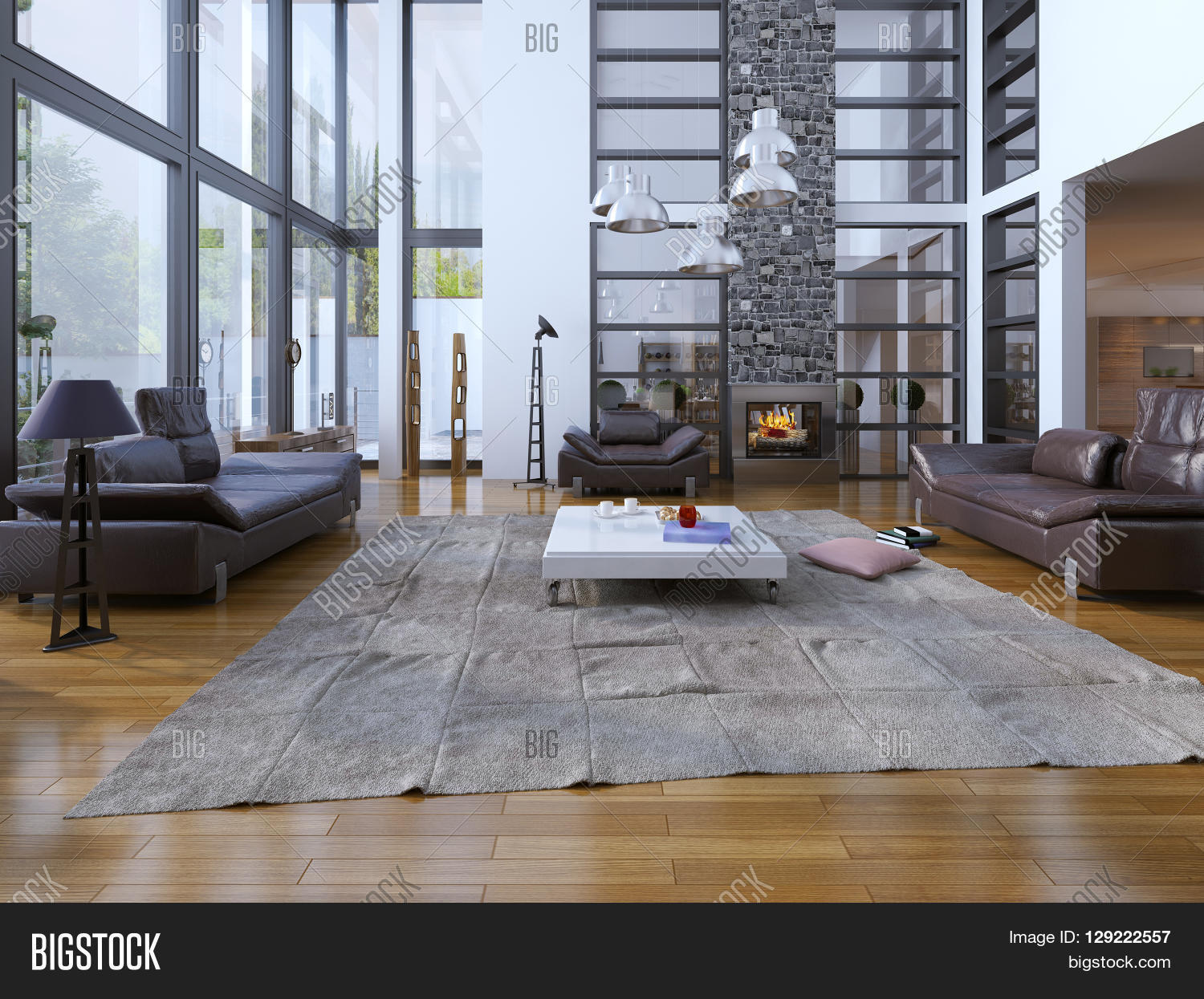 Living room loft style Panoramic two story windows