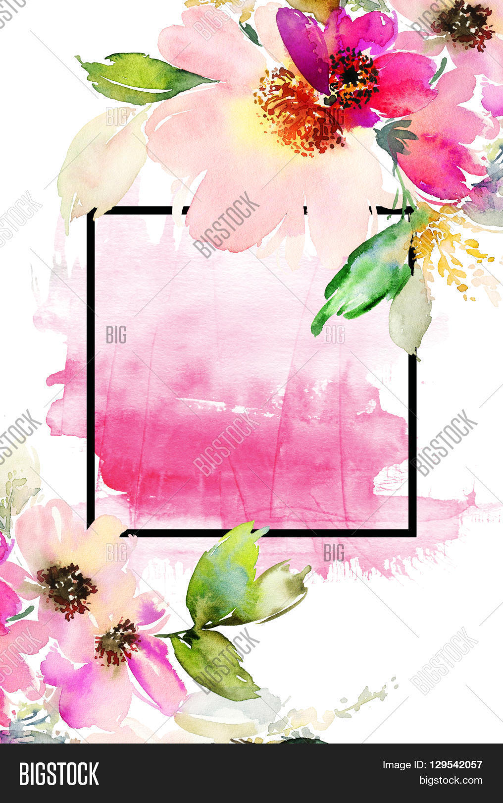 Greeting card flowers image photo free trial bigstock greeting card with flowers pastel colors handmade watercolor painting wedding birthday mothers izmirmasajfo