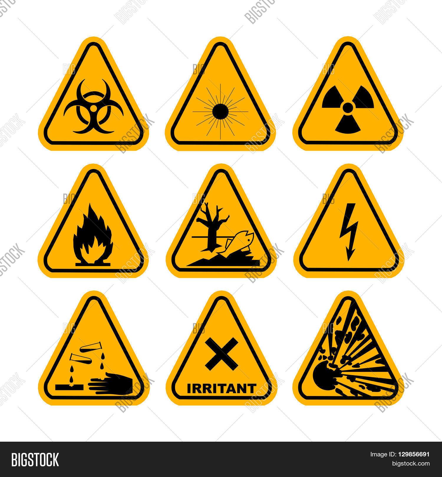 Warning hazard symbols set vector vector photo bigstock warning hazard symbols set of vector icons high voltage toxic caution biocorpaavc Gallery