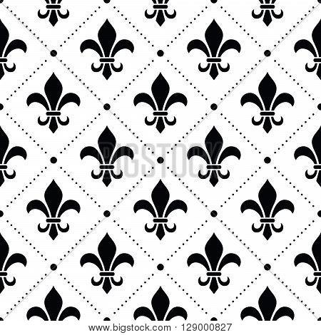 French Damask background - Fleur de lis black pattern on white