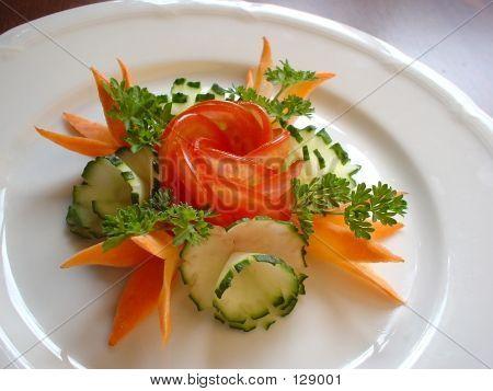 Food Decoration. Vegetable Flowers
