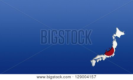 Japan map with flag style wallpaper background 3d cut out effect