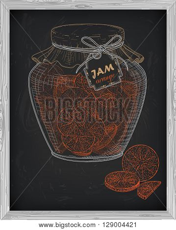 Beautiful Jar Of Homemade Jam With Orange On A Black Background