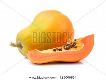 A papaya are on the white background