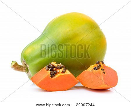 A papayas are on the white background