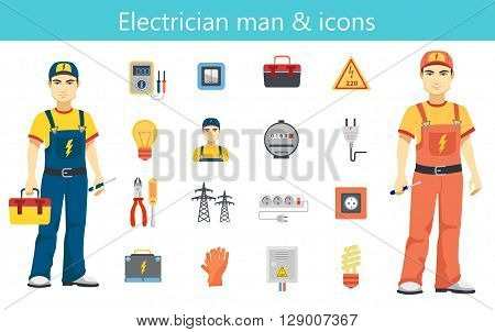 Electrician man concept and color flat icons set.
