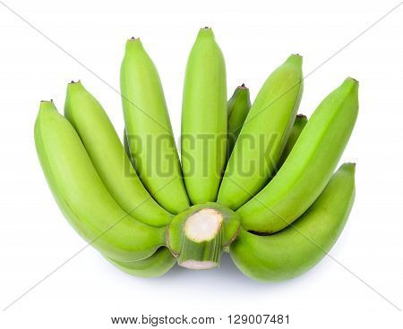 A green banana on the white background