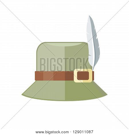 Summer hat isolated on white background. Green panama with brown ribbon for protection from sun and rain weather conditions. Hunter hat with feather. Garment for wearing on head. Vector illustration