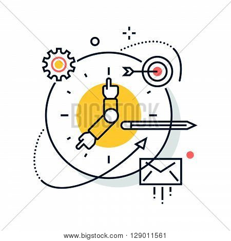 Clock work hours concept illustration icon background and graphics. The illustration is colorful flat vector pixel perfect suitable for web and print. It is linear stokes and fills.