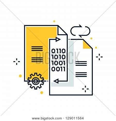 Data exchange transfer concept illustration icon background and graphics. The illustration is colorful flat vector pixel perfect suitable for web and print. It is linear stokes and fills.