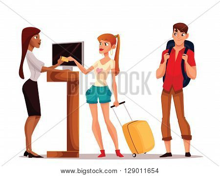 Booking hotel rooms, cartoon illustration of a funny comic, young couple taking the keys to their room, a man and a woman on vacation to stay in a hotel, Hotel reception