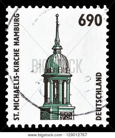 GERMANY - CIRCA 1996 : Cancelled postage stamp printed by Germany, that shows Saint Michaelis Church in Hamburg.