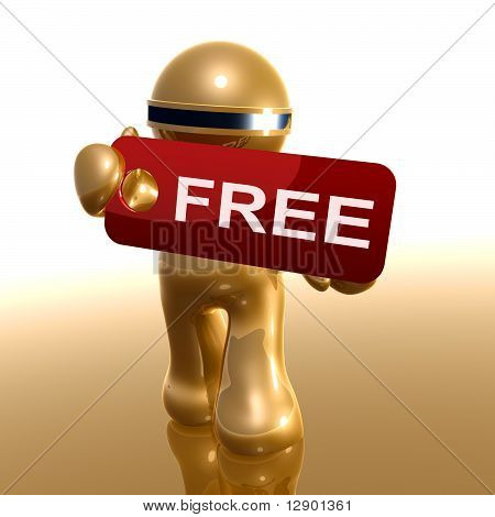 3d little icon holding free tag sign