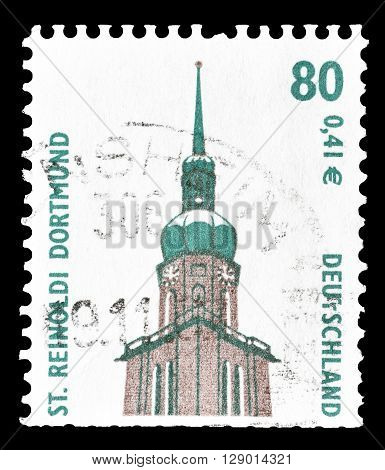 GERMANY - CIRCA 2001 : Cancelled postage stamp printed by Germany, that shows German Theater in Berlin.