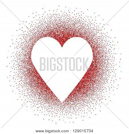 White heart in red glitters vector background. Love symbol. Design template for wedding romantic love cards invitations and etc
