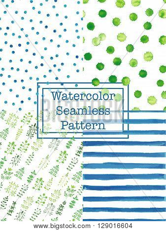 Set of watercolor seamless patterns green and blue color. Polka dot flowers / herbs splashes stripes seamless watercolor pattern for scrapbook or textile print.