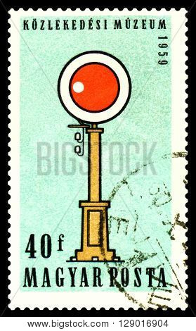 STAVROPOL RUSSIA - APRIL 30 2016: A Stamp printed in Hungary shows old eartly Semaphone circa 1959