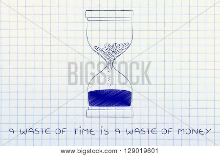 Coins Melting To Sand Into An Hourglass, A Waste Of Time Is A Waste Of Money