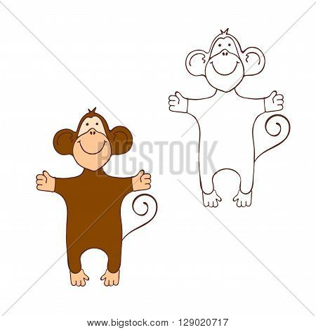 Two Monkeys. Colored Monkey. Outline Monkey. Cartoon Monkey for a coloring book. Cute Monkey.  Two vector monkeys on white background. Monkey for kid coloring book. Isolated monkey.