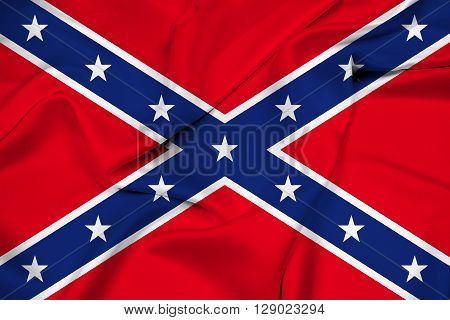 Waving Confederate Flag, with beautiful satin background.