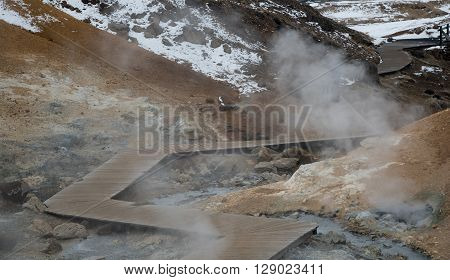 Gunnuhver Geothermal field in the island of Iceland poster